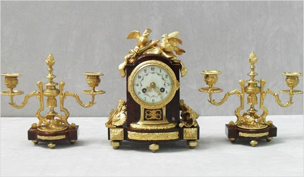 French Louis XIV Style Marble and Bronze Gilt Clock Set 1860s